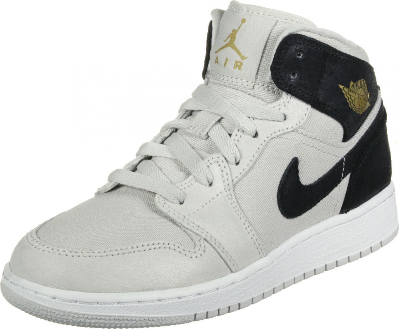 Air Jordan 1 Femme Gris - Jordan 1 Mid GS chaussures gris noir < Nyima